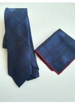 Стилна мъжка вратовръзка и кърпичка за младоженец и абитуриент в тъмно синьо и черно