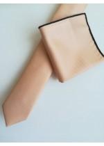 Тънка мъжка вратовръзка цвят пудра с кърпичка за джоб за младоженец и абитуриент