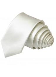 Тънка копринена вратовръзка в бяло за младоженец
