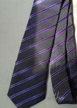 Вратовръзка за младоженец в сиво и светло лилаво