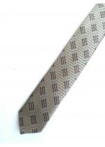 Тънка мъжка вратовръзка за абитуриент с геометрични мотиви в златисто бежово