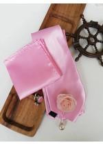Стилен комплект вратовръзка кърпичка бутониера и ръкавели в розово