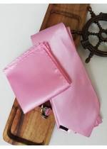Нежен сватбен комплект вратовръзка кърпичка и ръкавели в розово