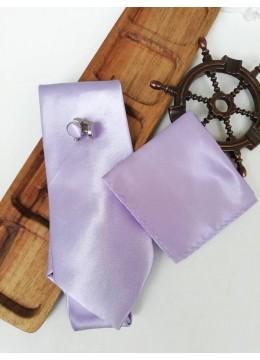 Стилен сватбен комплект вратовръзка кърпичка и ръкавели в светло лилаво
