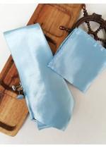 Луксозен комплект вратовръзка кърпичка и ръкавели в светло синьо