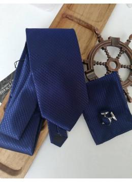 Официален сватбен комплект вратовръзка кърпичка и ръкавели в тъмносиньо