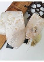 Луксозен комплект вратовръзка за младоженец, кърпичка, ръкавели и бутониера в екрю и златно