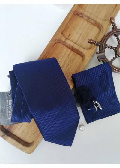 Комплект за младоженец - официална вратовръзка кърпичка ръкавели и бутониера в тъмносиньо
