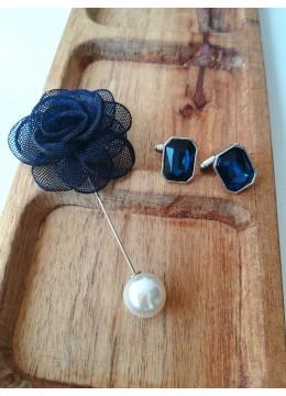 Комплект за младоженец- ръкавели и бутониера в тъмно синьо
