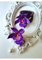 Бутониера и гривна - корсаж за сватба с орхидеи и Swarovski кристали за Кума и шаферка Purple Passion