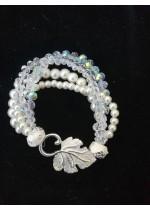 Гривна за булка с 4 реда стъклени перли и кристали Сваровски Delicate in White by Rosie