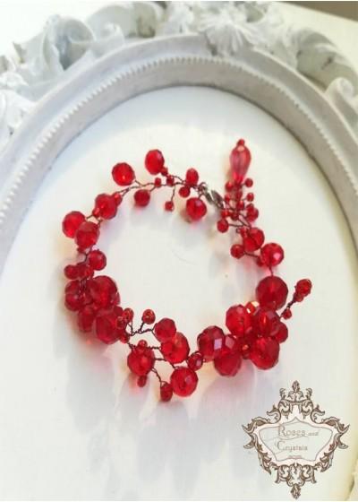 Гривна с червени кристали Goddess Astarte