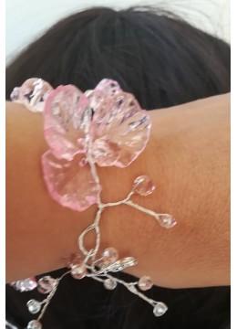 Сватбена гривна от Сваровски кристали в розово серия Japanese Garden by Rosie