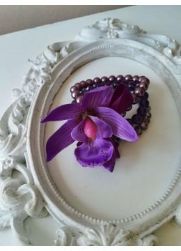 Гривна - корсаж за сватба с орхидеи и Swarovski кристали за Кума и шаферка Purple Passion