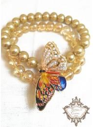 Луксозна абитуриентска гривна от два реда мъниста Прециоза и перли в златно с пеперуда с кристали модел Gold Fly by Nature