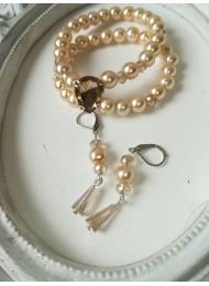 Комплект гривна и обици от перли и кристали модел Elegance цвят екрю