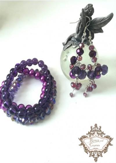 Дизайнерски комплект гривна и обици Purple Dream by Rosie