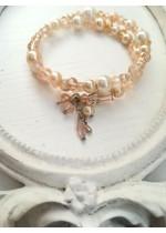 Абитуриентска гривна в розово и праскова със стъклени перли и кристали Сваровски Pink Blush by Rosie