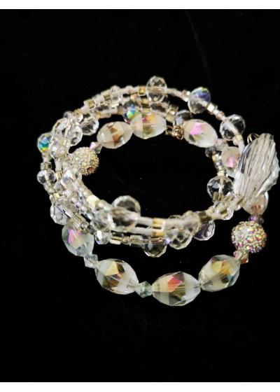Дизайнерска гривна за сватба с кристали Сваровски и Прециоза с АБ ефект 4 реда