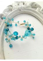 Стилна дизайнерска гривна със Сваровски кристали в цвят Тюркоаз Turquoise Spell by Rosie