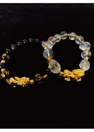 Комплект за булка и младоженец луксозни гривни с позлатено Pi Xiu фън шуй символ на късмета