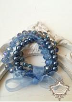 Изящен комплект гривни от Сваровски кристали и стъклени перли в синьо Something Blue