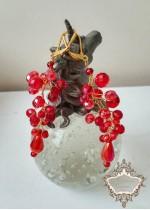 Кристални обици в червено и златно модел Red Fashion by Rosie
