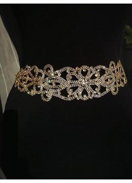Златист кристален колан за булчинска рокля модел Golden Shadow