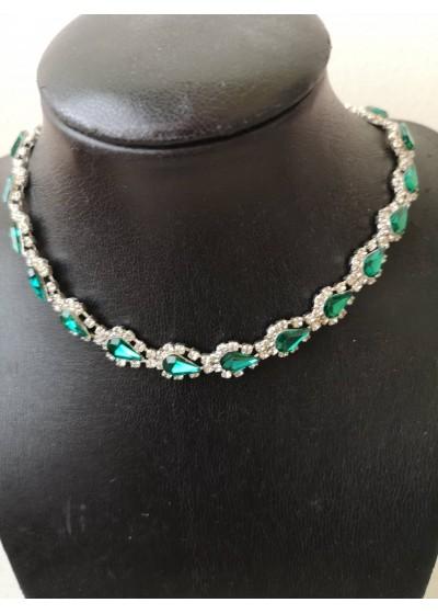 Колие с кристали в изумрудено зелено - Emerald Green