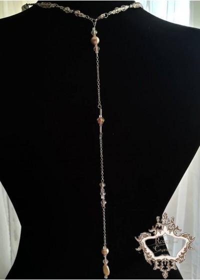 Булчинско колие за гръб в светло розово и слонова кост - Iced Rose