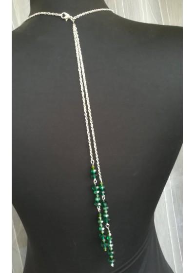 Колие за гръб с кристали Сваровски в изумрудено зелено Emerald Rose by Rosie