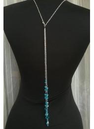 Дизайнерско колие за гръб с тюркоазени кристали Сваровски Turquoise Rose by Rosie