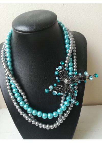 Луксозно колие с перли и кристали в сиво и тюркоаз