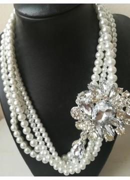 Булчинско колие с кристали Сваровски и стъклени перли