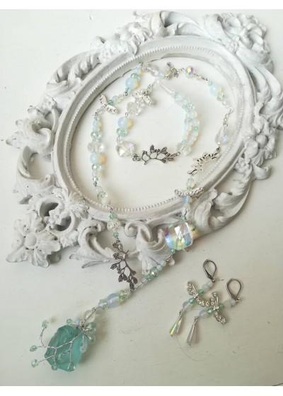 Комплект бижута за сватба и бал в цвят Тифани с аквамарин и кристали Sea Dream by Rosie
