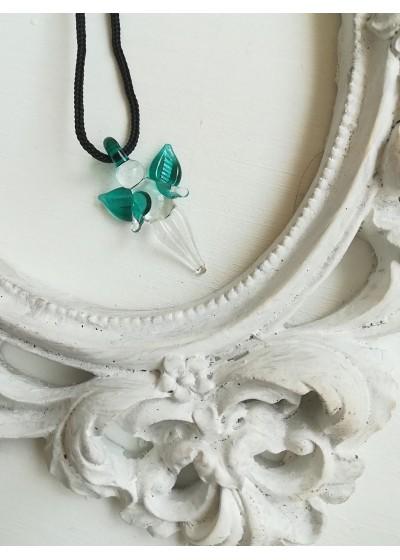 Подарък за шаферка ръчно изработен медальон ангелче цвят тъмен тюркоаз