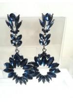 Кристални дамски обици в цвят тъмно синьо Atenas in Blue