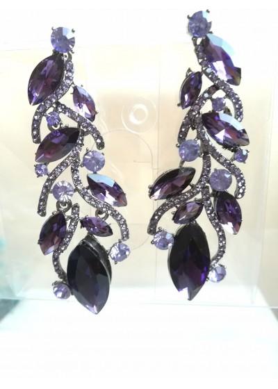 Кристални висящи обици за абитуриентски бал и други официални събития в лилаво модел Amethyst Feathers
