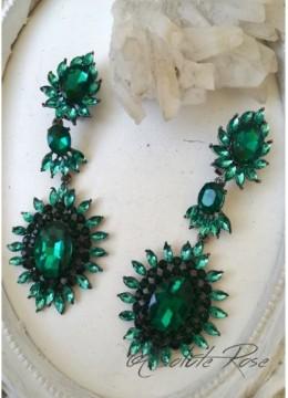 Дълги обици с изумрудено зелени кристали- Barcelona Green