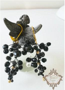 Стилни изработени обици с черни кристали модел Black and Gold by Rosie