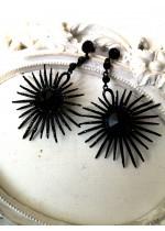 Елегантни обици с кристали в черно - Black Elegance