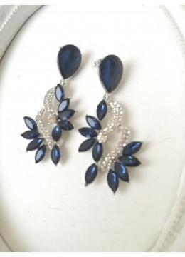 Висящи обици с кристали в тъмно синьо и бяло - Blue Aurora