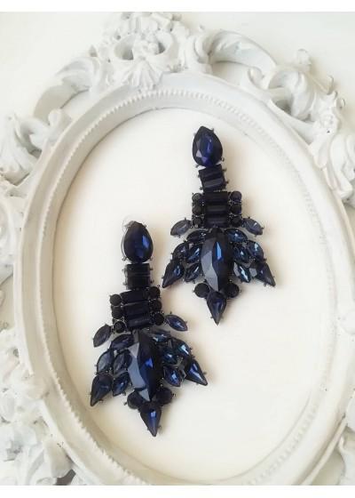 Елегантни обици с кристали в тъмно синьо - Blue Style