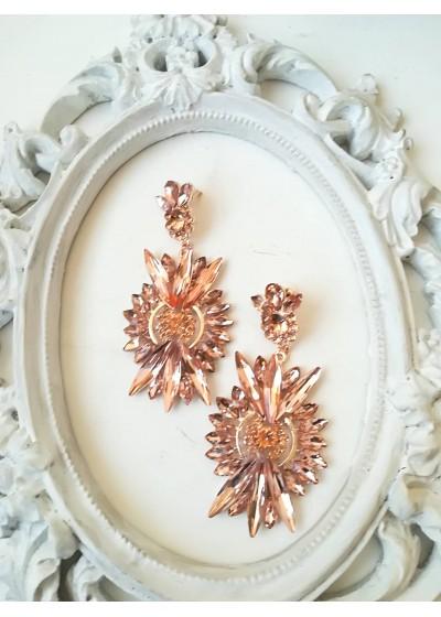 Стилни обици с кристали в прасковено - Blush Harmony