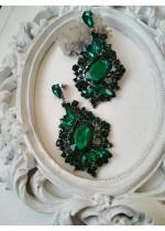 Изящни обици с кристали в изумрудено зелено - Emerald Dream