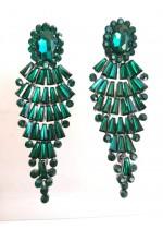 Абитуриентски кристални обици в цвят тъмно зелен изумруд модел Emerald Fall