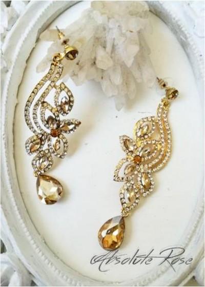 Изящни кристални обици в златно - Galata Gold