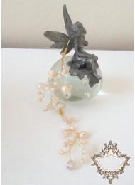 Булчинки обици от кристали Сваровски цвят праскова Garden Blush