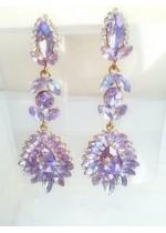 Изключително ефектни дълги кристални обици в цвят люляково лилаво с АБ ефект Gentle Purple