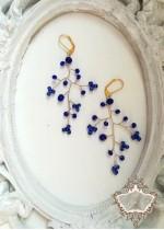 Ръчно изработени обици в синьо и златно - Gold and Blue by Rosie